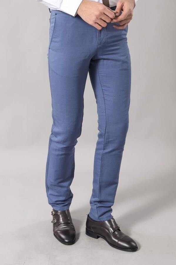Keten Slimfit Spor Mavi Pantolon