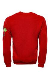 Kırmızı Baskı Detaylı Bisiklet Yaka Sweatshirt - Thumbnail