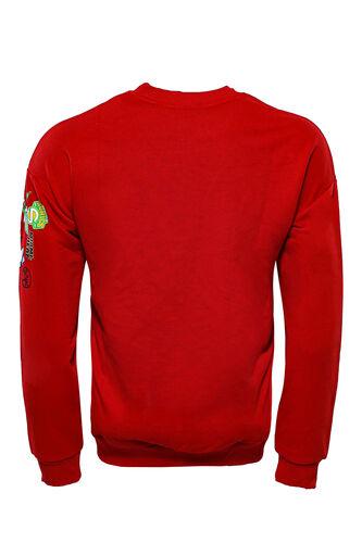 Kırmızı Baskı Detaylı Bisiklet Yaka Sweatshirt