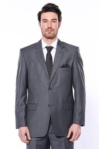 Klasik Kesim Füme Düz Takım Elbise | Wessi