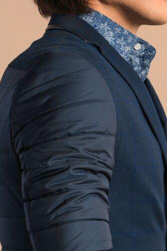 Wessi - Kol Ve Sırt Kapitone Ekose Lacivert Kaşe Ceket (1)
