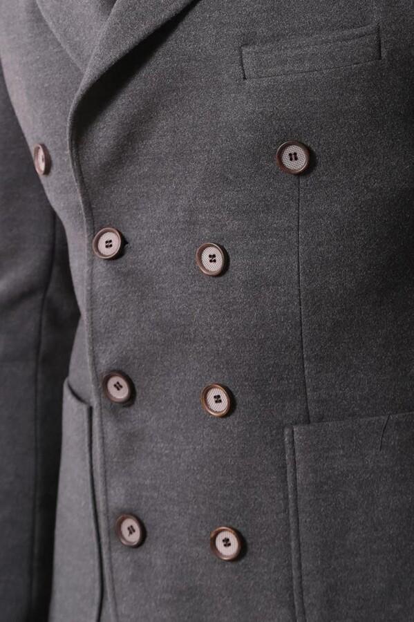 Kruvaze Füme Kısa Palto