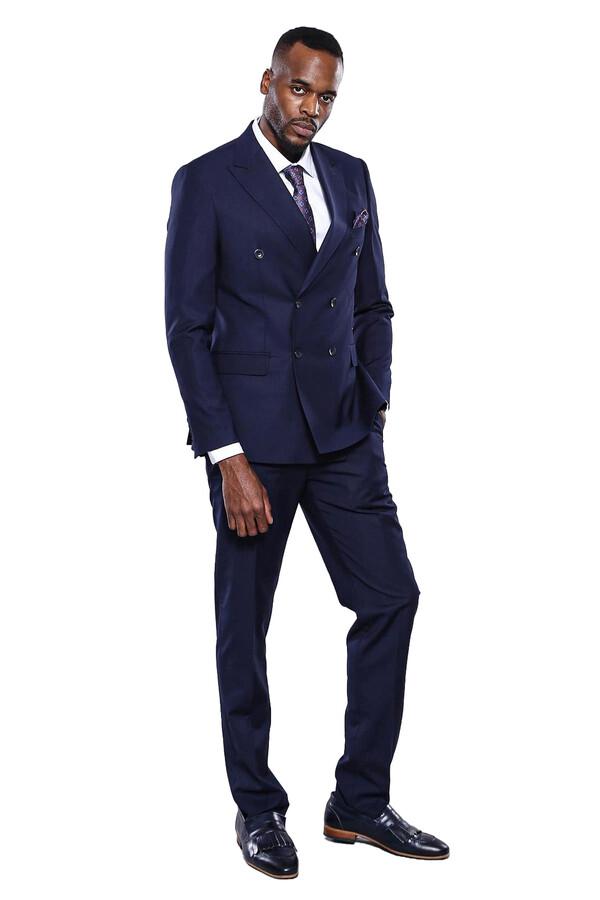 Kruvaze Lacivert Slim Fit Takım Elbise | Wessi