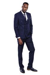 Kruvaze Lacivert Slim Fit Takım Elbise | Wessi - Thumbnail