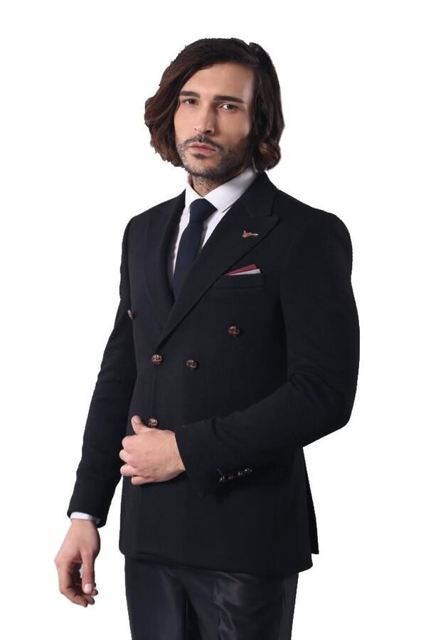 Kruvaze Slimfit Siyah Ceket