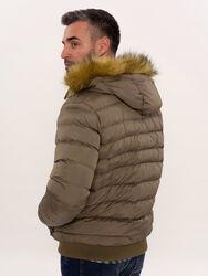 Kürklü Kahverengi Erkek Şişme Mont | Wessi - Thumbnail