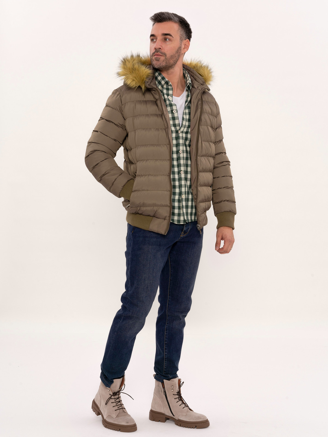 Kürklü Kahverengi Erkek Şişme Mont | Wessi