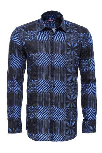 Lacivert Baskı Desenli Gömlek