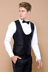 Lacivert Ceketli Siyah Damatlık Takım Elbise | Wessi - Thumbnail