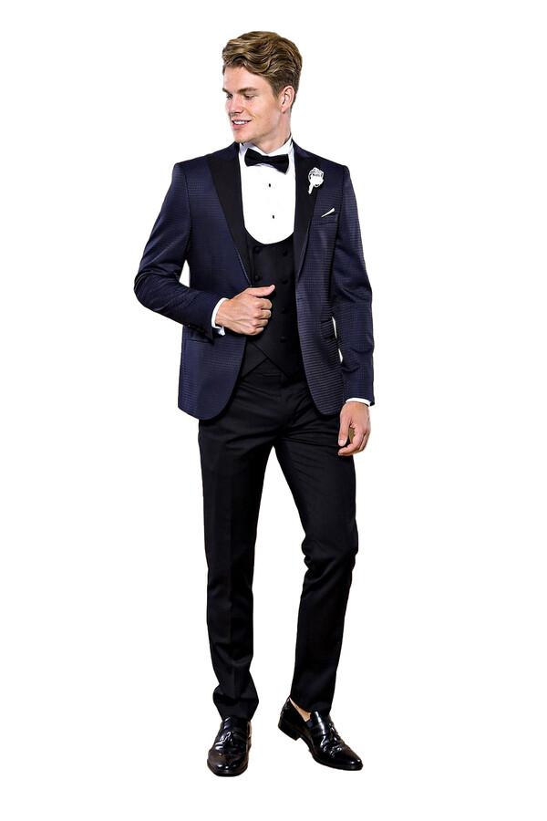 Lacivert Ceketli Siyah Damatlık Takım Elbise | Wessi