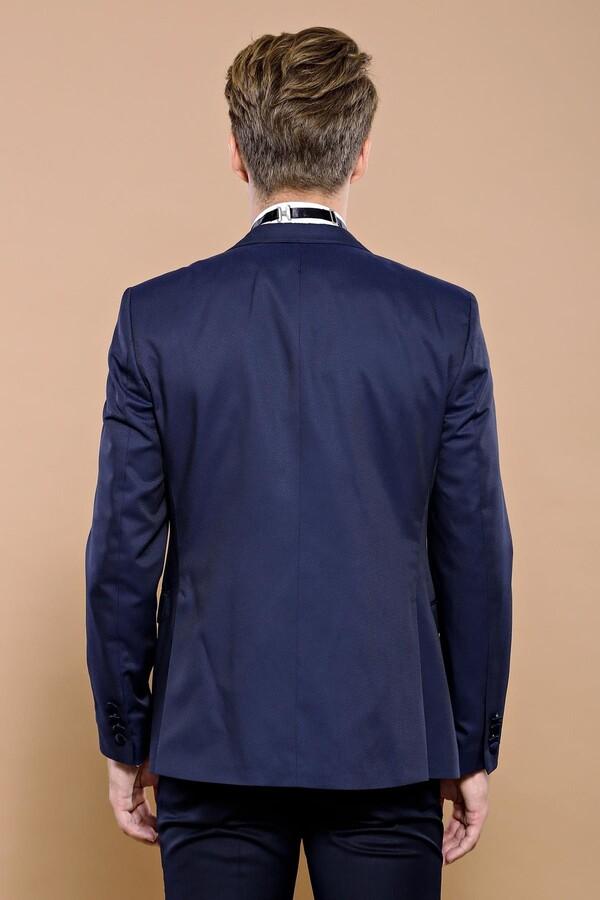 Lacivert Çıkma Yaka Damatlık Takım Elbise | Wessi
