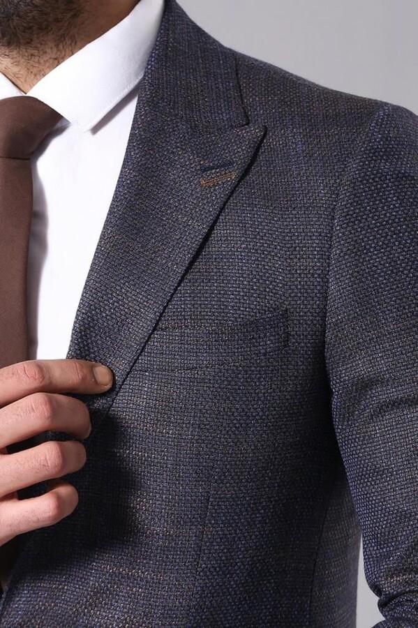 Lacivert Desenli Erkek Ceket | Wessi