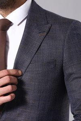 Lacivert Desenli Erkek Ceket | Wessi - Thumbnail