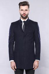Lacivert Hakim Yaka Erkek Uzun Kaban | Wessi - Thumbnail