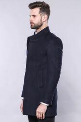 Lacivert Hakim Yaka Erkek Uzun Kaban   Wessi - Thumbnail