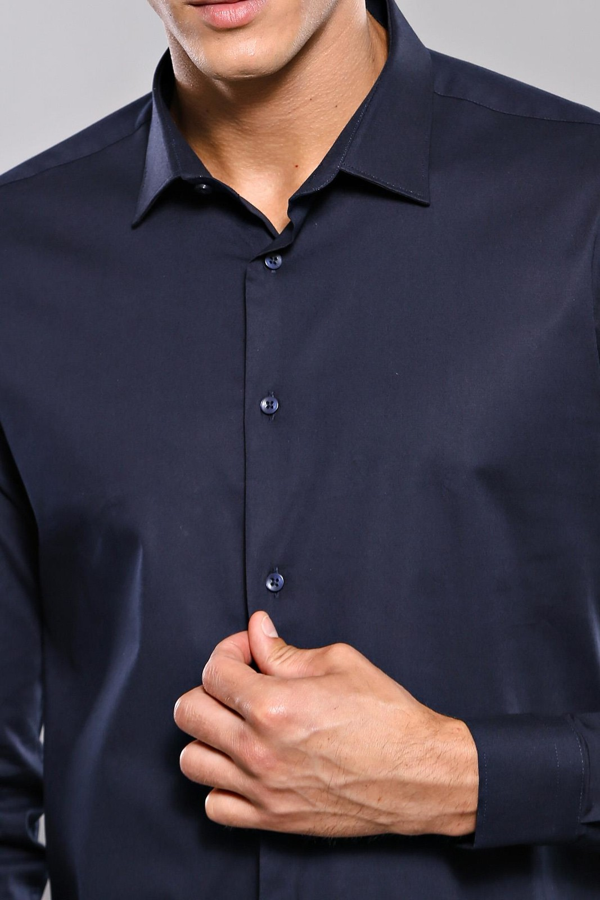 Lacivert Slimfit Erkek Gömlek | Wessi