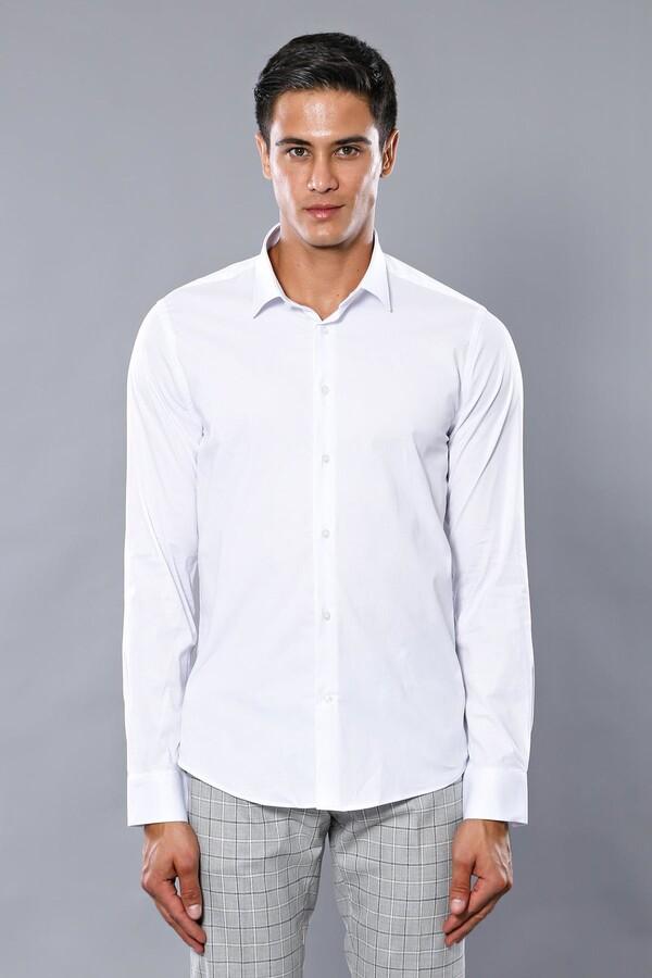 Likralı Beyaz Gömlek | Wessi