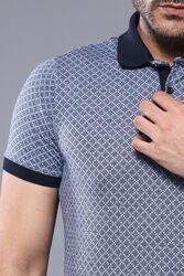 Desenli Polo Yaka Mavi T-shirt   Wessi - Thumbnail