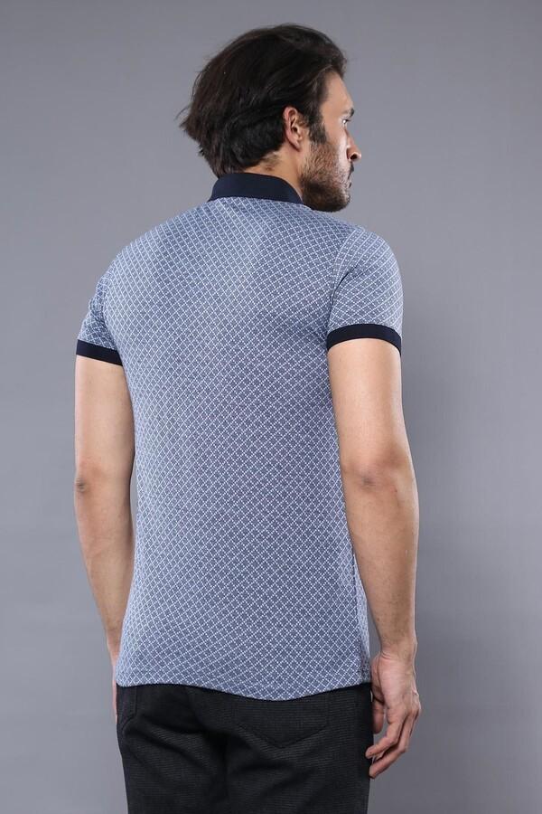 Desenli Polo Yaka Mavi T-shirt   Wessi