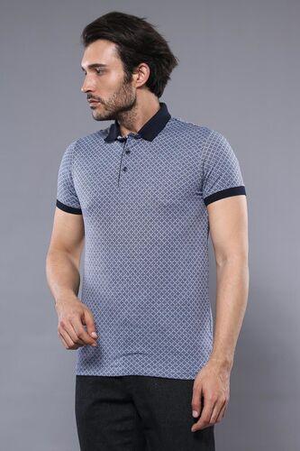Desenli Polo Yaka Mavi T-shirt | Wessi