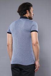 Desenli Polo Yaka Mavi T-shirt | Wessi - Thumbnail
