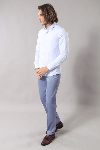 Mavi Desenli Slimfit Erkek Gömlek