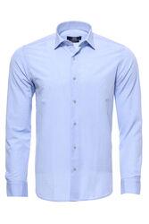 Mavi Desenli Slimfit Erkek Gömlek - Thumbnail