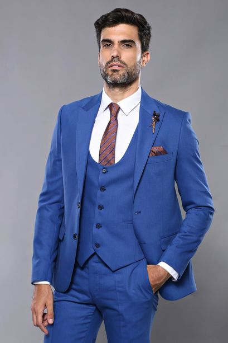 Kendinden Desenli Yelekli Mavi Takım Elbise | Wessi