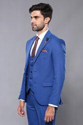 Kendinden Desenli Yelekli Mavi Takım Elbise | Wessi - Thumbnail