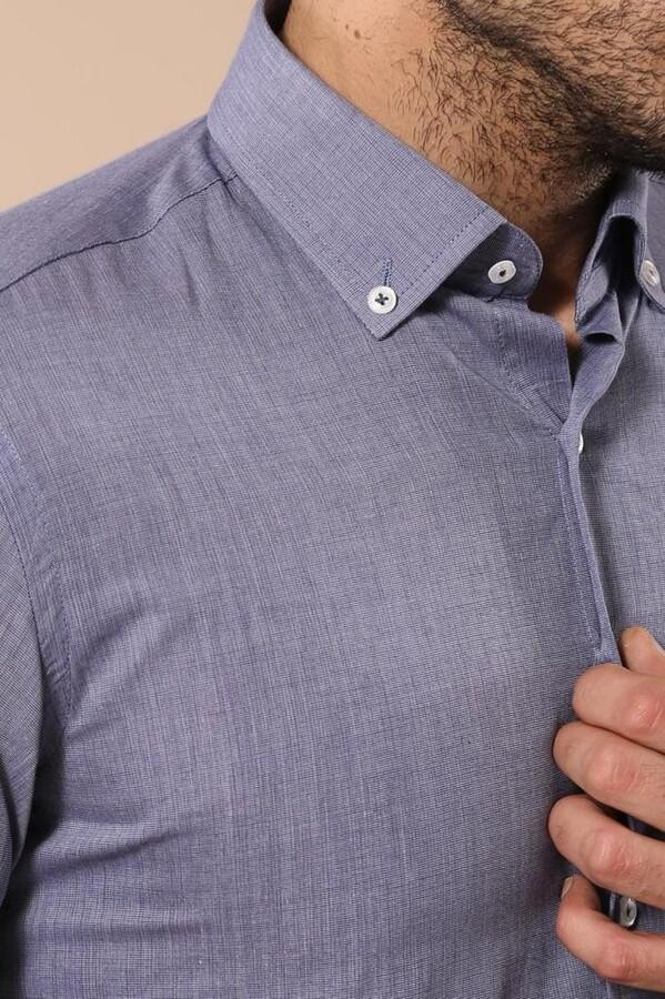 Mavi Düz Keten Gömlek | Wessi