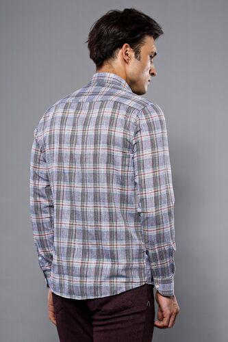Ekose Desenli Açık Lacivert Uzun Kollu Gömlek | Wessi
