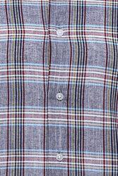 Ekose Desenli Açık Lacivert Uzun Kollu Gömlek   Wessi - Thumbnail