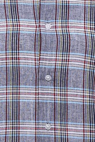 Ekose Desenli Açık Lacivert Uzun Kollu Gömlek   Wessi