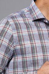 Ekose Desenli Açık Lacivert Uzun Kollu Gömlek | Wessi - Thumbnail