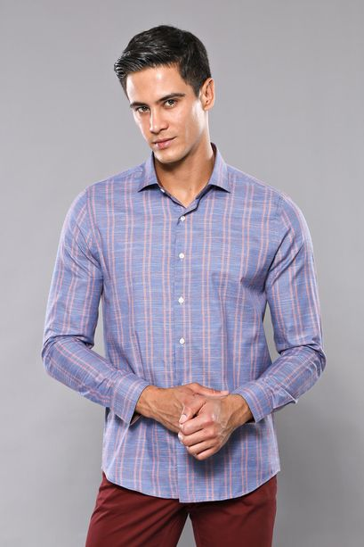 Ekose Desen Mavi Uzun Kollu Gömlek | Wessi