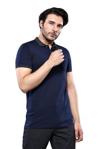 Men's Dark Blue Polo Shirt Navy Detailed | Wessi - Thumbnail