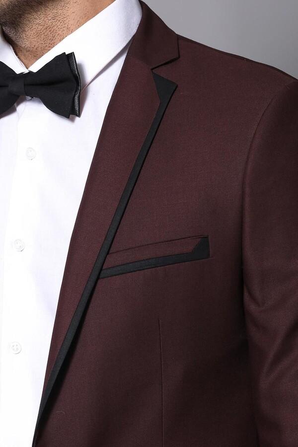 Yaka Biyeli Bordo Damatlık Takım Elbise | Wessi