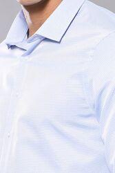 Kendinden Desenli Mavi Uzun Kollu Slim Fit Gömlek | Wessi - Thumbnail