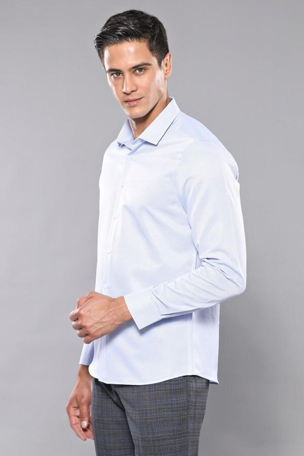 Kendinden Desenli Mavi Uzun Kollu Slim Fit Gömlek | Wessi