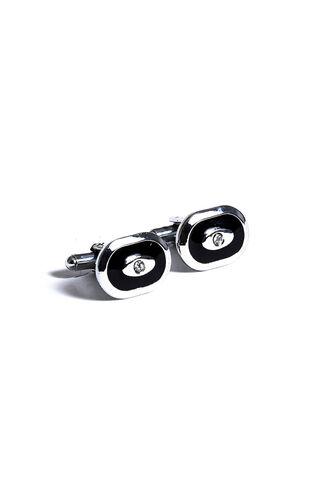 Oval Gümüş Siyah Kol Düğmesi