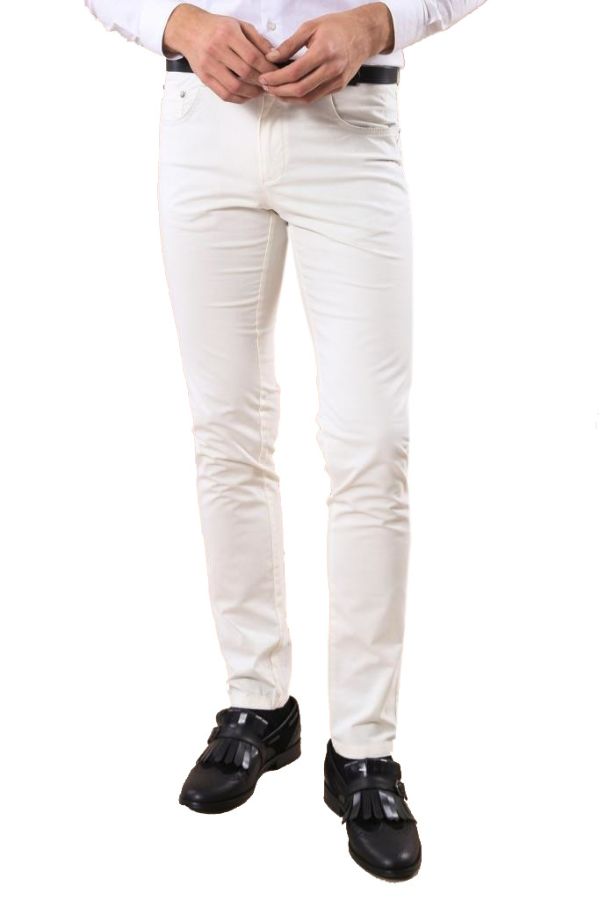 Pamuk Beyaz Renkli 5 Cep Slim Fit Pantolon | Wessi
