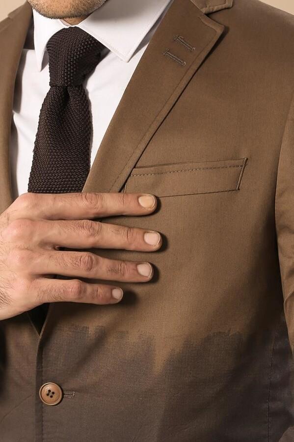 Pamuk Gazi Dikişli Kahverengi Ceket