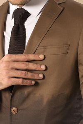 Pamuk Gazi Dikişli Kahverengi Ceket - Thumbnail
