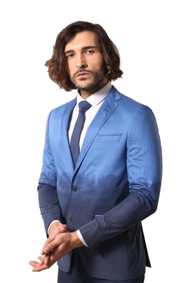 Pamuk Gazi Dikişli Mavi Ceket