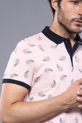 Çiçek Desenli Pembe Polo Yaka T-shirt   Wessi