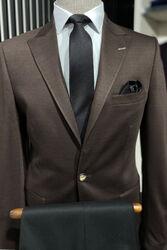 Penye Kahverengi Slim Fit Ceket - Thumbnail