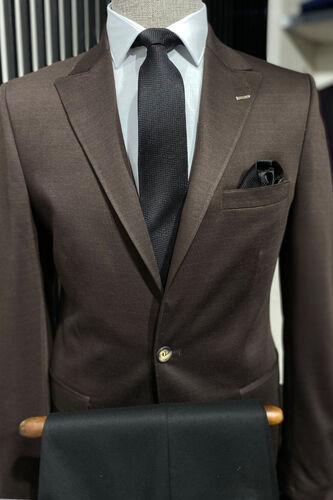 Penye Kahverengi Slim Fit Ceket