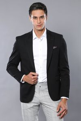 Penye Siyah Slim Fit Ceket | Wessi - Thumbnail