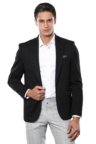 Penye Siyah Slim Fit Ceket | Wessi