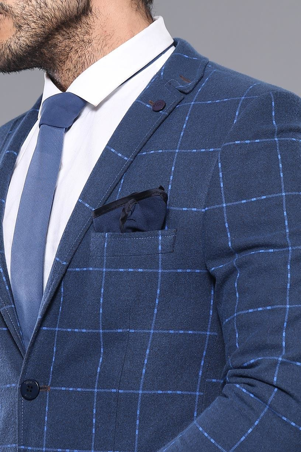 Plaid Navy Blue Sport Coat | Wessi